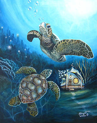 Atlantis Painting - Green Turtles And Undersea Conch House by Abigail White