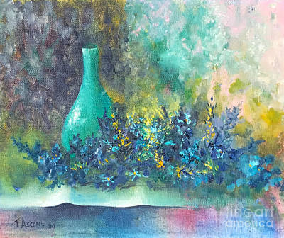 Table Cloth Painting - Green Vase by Teresa Ascone