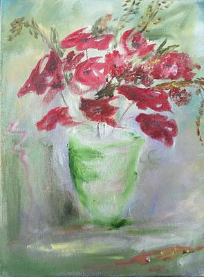 Painting - Green Vase With Flowers by Mary Feeney