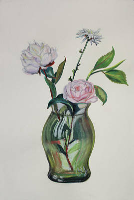 Painting - Green Vase With Pink Camillia And White Peony by Asha Carolyn Young