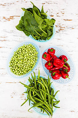 Green Vegetables And Red Chili Art Print