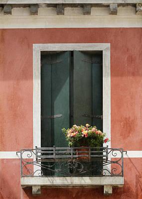 Terra Cotta Photograph - Green Venetian Window On Peach by Brooke T Ryan