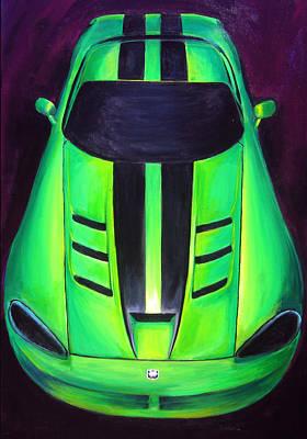 Viper Painting - Green Viper by Sheri  Chakamian