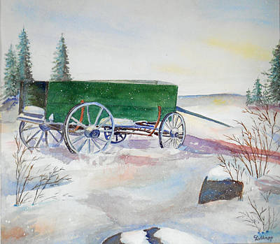 Painting - Green Wagon by Christine Lathrop