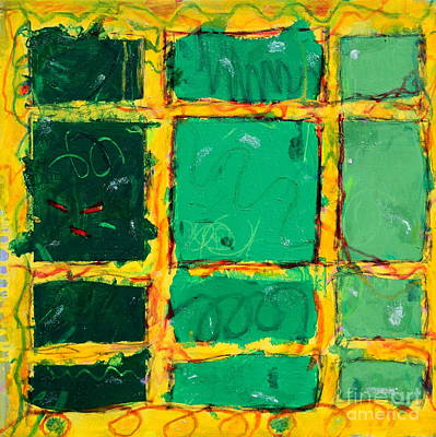 Mixed Media - Green Windows by Kelly Athena