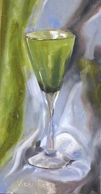 Green Wine Glass Art Print
