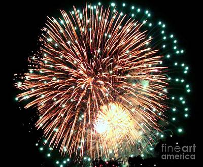 Photograph - Green With White Fireworks by Janette Boyd