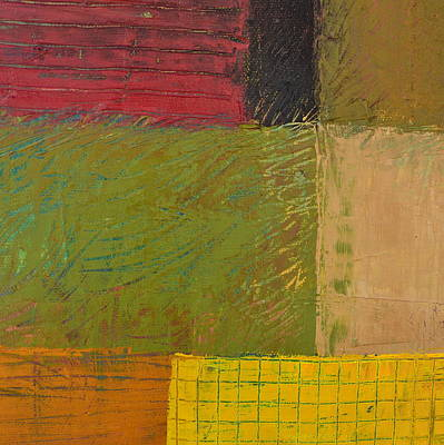 Painting - Green With Yellow Boxes 2.0 by Michelle Calkins