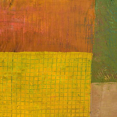 Painting - Green With Yellow Boxes by Michelle Calkins