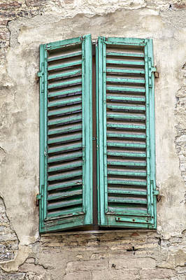 Photograph - Green Wood Window Shutters Of Florence by David Letts