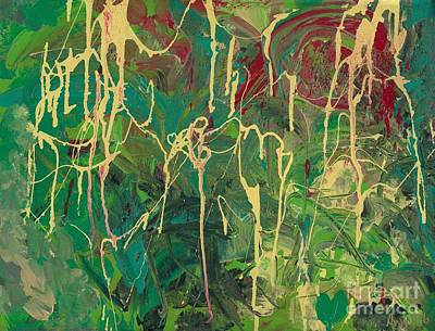 Painting - Green Yellow Abstract by Ania M Milo