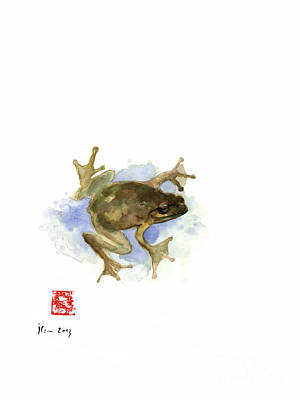 Amphibians Wall Art - Painting - Green Yellow Blue Frog Lake River Animal World Water Colors Jewel Collection by Johana Szmerdt