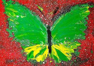 Green Yellow Butterfly With Red Background Art Print