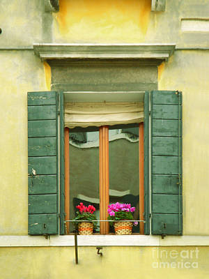Photograph - Green Yellow Venice Series Shutters by Robyn Saunders