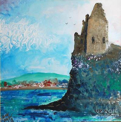Fawn Mixed Media - Greenan Castle Sctland by Janet Fraser Mckinlay
