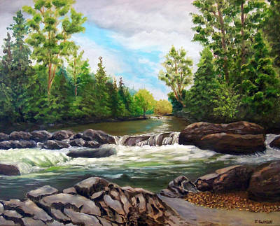 River Rafting Painting - Greenbrier Cascades by Joan Swanson