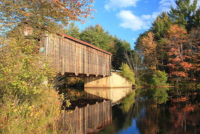 Photograph - Greenfield New Hampshire Covered Bridge And Contoocook River by John Burk