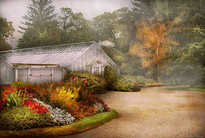 Photograph - Greenhouse -  Early Morning And Tending To The Flowers by Mike Savad