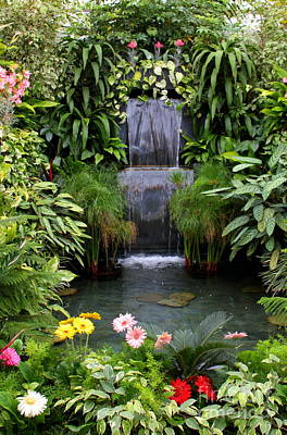 Greenhouse Garden Waterfall Art Print by Carol Groenen