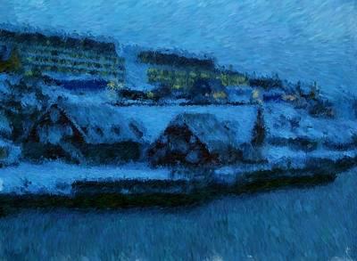 Digital Art - Greenland Harbor Buildings In Nuuk_impressionist Digital Painting by Asbjorn Lonvig