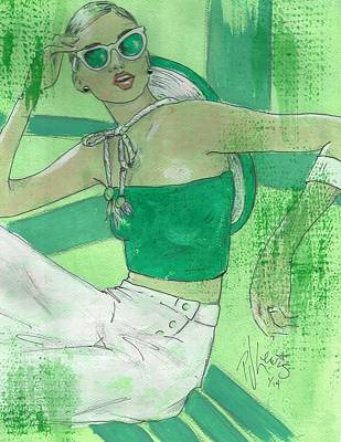 Fashion Art Drawing - Greenly by P J Lewis