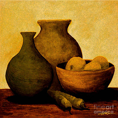 Aztec Pottery Painting - Greenpeppers by Joel Thompson