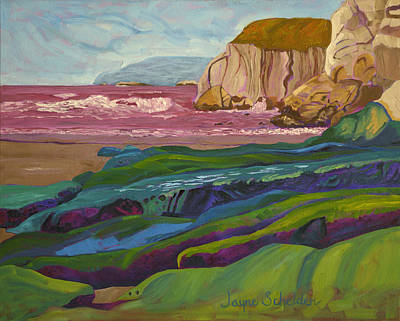 Pismo Beach Painting - Greens And Blues Of Pismo by Jayne Schelden