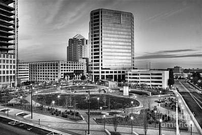 Photograph - Greensboro Center City Park Bw by Dan Carmichael