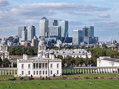 Greenwich And Canary Wharf Print by Gill Billington