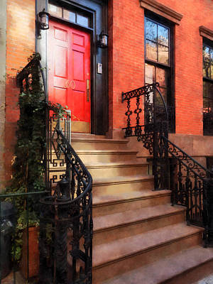 Staircase Photograph - Greenwich Village Brownstone With Red Door by Susan Savad