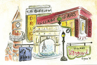 Vanguard Painting - Greenwich Village Collage by AFineLyne