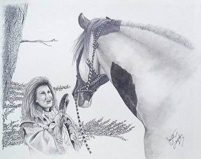 Wild Horses Drawing - Greeting At The Monument by Joette Snyder