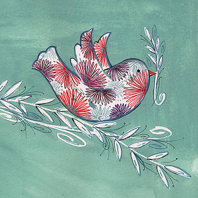 Peace Doves Painting - Greeting Bird by P.s. Art Studios