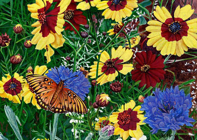 Realistic Photograph - Greeting Card Butterfly Wildflowers Floral 2 by Walt Curlee