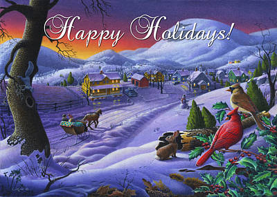 New England Snow Scene Painting - greeting card no 14 Happy Holidays by Walt Curlee