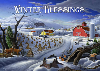 New England Snow Scene Painting - greeting card no 3 Winter Blessings by Walt Curlee