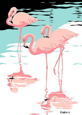 Birds Royalty-Free and Rights-Managed Images - Greeting Card Pink Flamingos by Walt Curlee