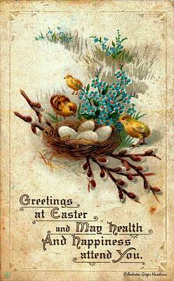 Photograph - Greetings At Easter 1918 Vintage Postcard by Audreen Gieger