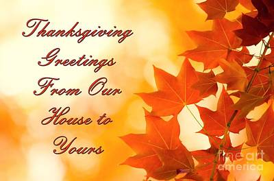 Digital Art - Greetings For Thanksgiving by JH Designs