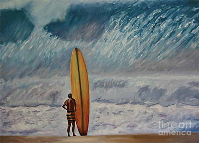 Longboard Painting - Greg Noll - Waimea Bay Oahu by Amy Fearn