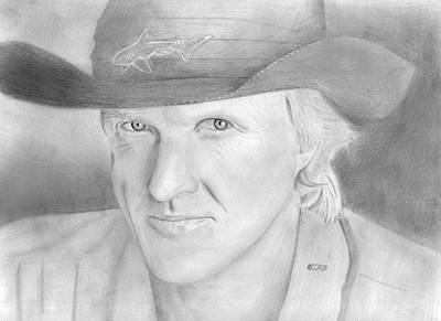 Drawing - Greg Norman - The Shark by Pat Moore