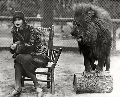 Animals Royalty-Free and Rights-Managed Images - Greta Garbo and Leo the Lion in 1926 by Sad Hill - Bizarre Los Angeles Archive