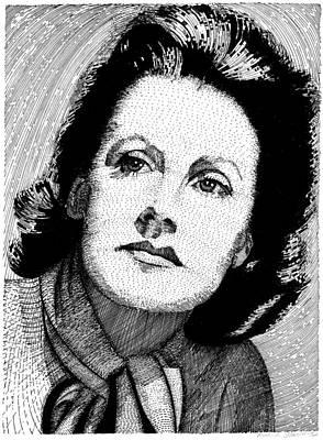 Drawing - Greta Garbo by Melinda Fawver