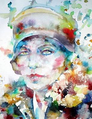Greta Garbo Painting - Greta Garbo - Watercolor Portrait.1 by Fabrizio Cassetta