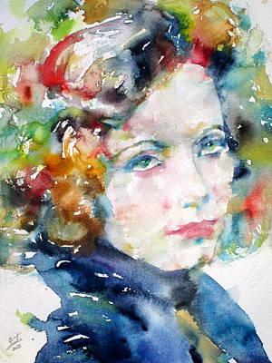 Greta Garbo Painting - Greta Garbo - Watercolor Portrait.2 by Fabrizio Cassetta