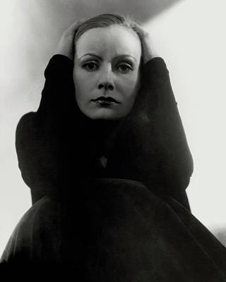 Woman Head Photograph - Greta Garbo Wearing A Black Dress by Edward Steichen