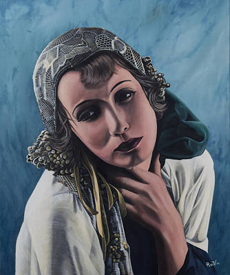 Greta Garbo Painting - Greta Garbo With Lace Head Scarf by Rudy Vandecappelle