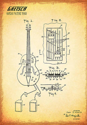 Stratocaster Photograph - Gretch Guitar Patent 1960 by Mark Rogan