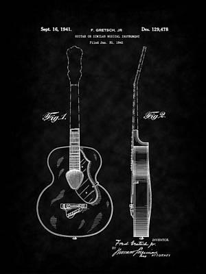 Digital Art - Gretsch Guitar 1941 Patent Art-bk by Barry Jones
