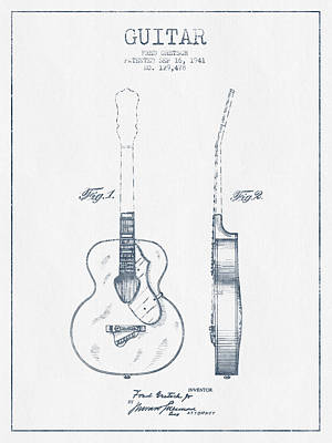 Gretsch Guitar Patent Drawing From 1941 - Blue Ink Art Print